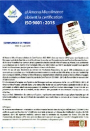 alamana Microfinance obtient la certification ISO 9001:2015